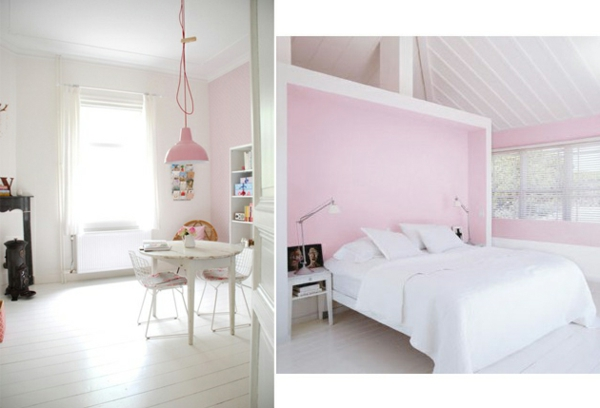 Sanviro.com | Schlafzimmer Altrosa Weiß   Rosa Wandfarbe Schlafzimmer