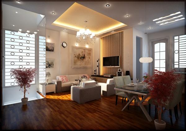 prima-beleuchtungsideen-für-wohnzimmer-gestaltung in weiß