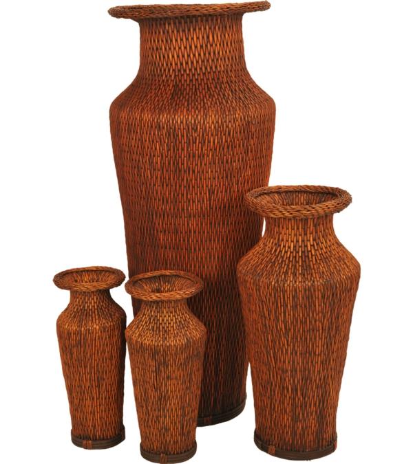 rattan-vasen-weißer-hintergrund- viele modelle