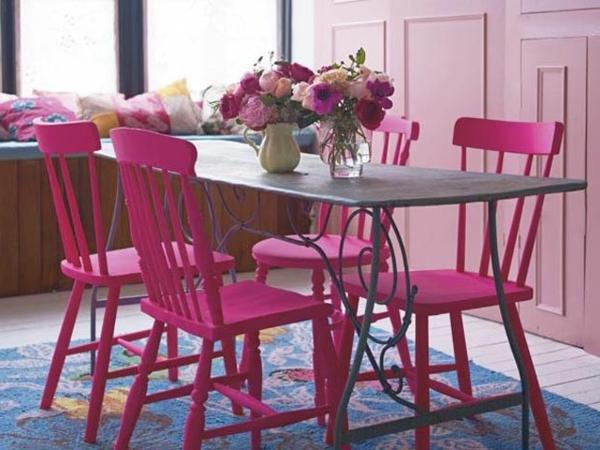 rosa-farbe-küche-stuhl