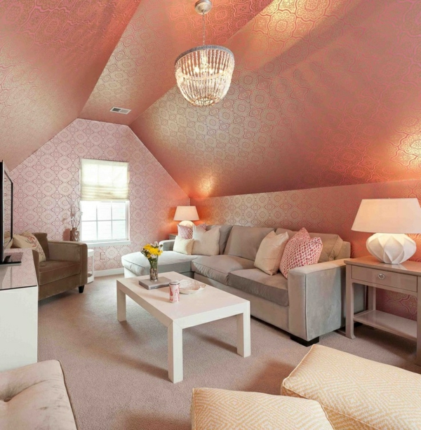 Rosa Orange Farbe Fr Wandtapete Dachzimmer