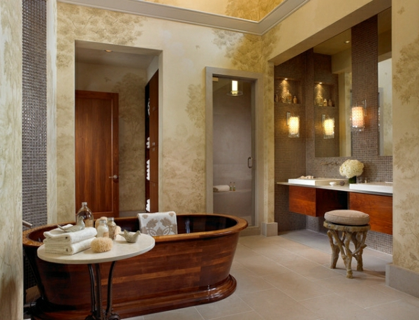 rustikale-Badezimmer-holz-badewanne-tapeten