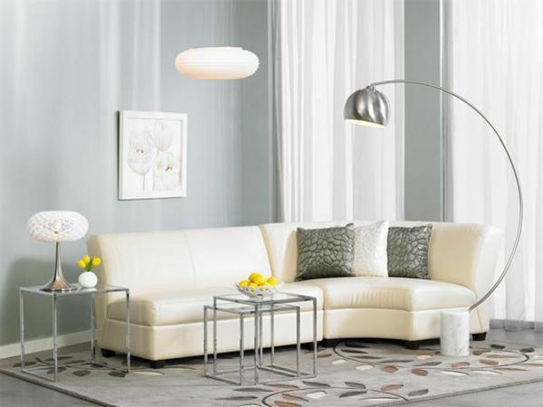 schöne-beleuchtungsideen-für-wohnzimmer-graue wandfarbe