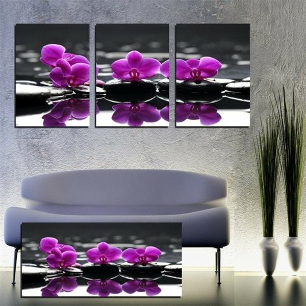 schöne-deko-mit-orchideen-lila-farbe- bilder an der wand
