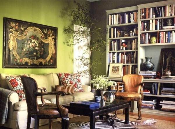 Great Schöne Farbgestaltung Für Wohnzimmer  Viele Bücherregale Wandfarbe Olivgrün  ...