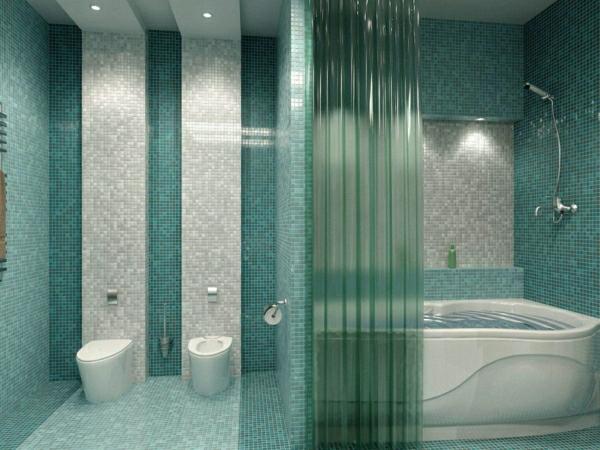 schöne-wandfarben-ideen-türkis-farbe-fürs-badezimmer-weiße-badewanne