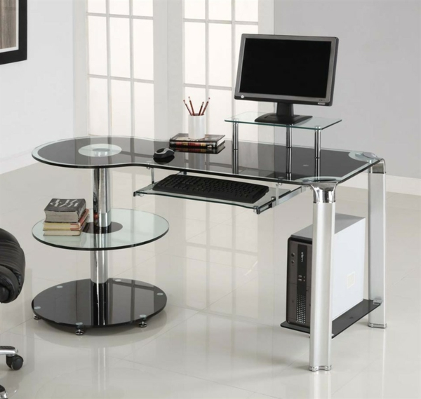 der computertisch aus glas wirkt sehr schick und elegant. Black Bedroom Furniture Sets. Home Design Ideas