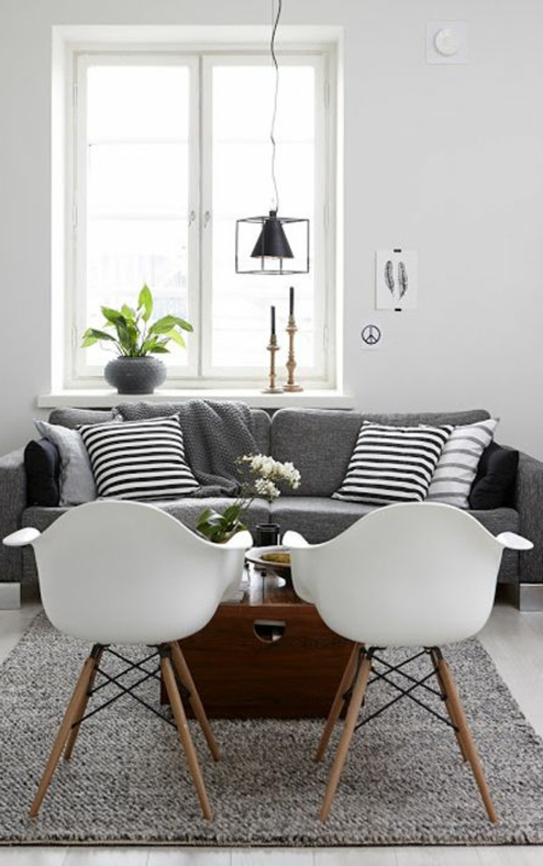 Schwarz-weiß-wanddekor | Möbelideen Deko Schwarz Weis Wohnzimmer