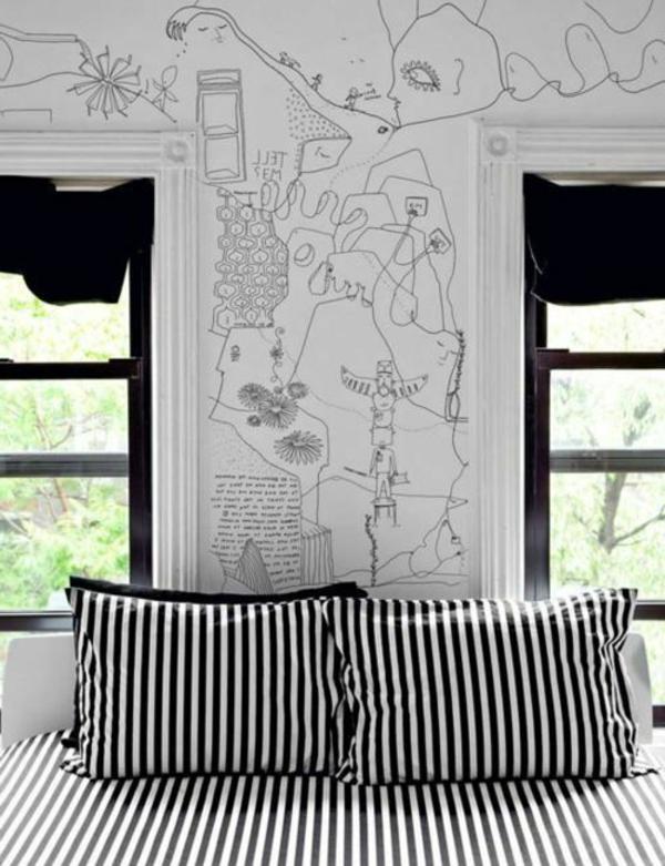 schwarz-weiß-in-streifen-kissen-schlafzimmer