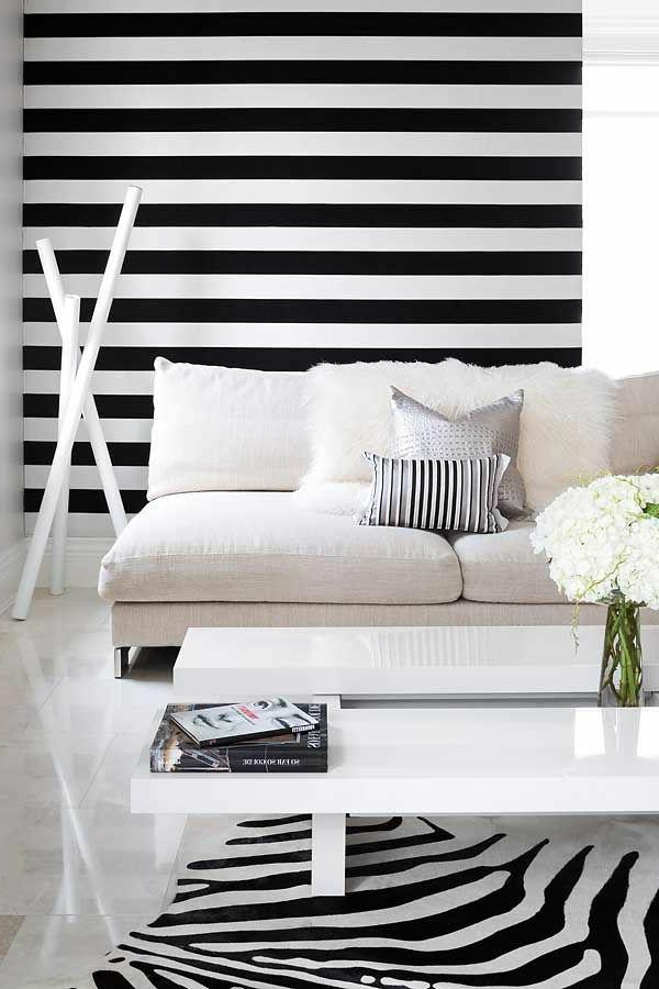 Schwarz wei in streifen der kontrast der immer im trend ist - Wand streifen ...