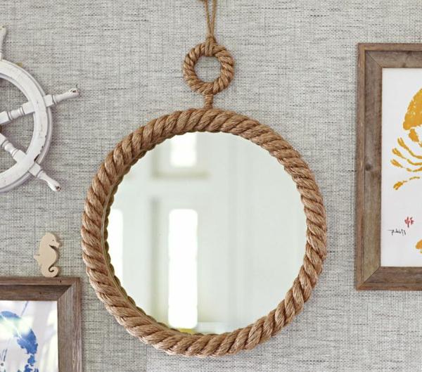 30 nautische ideen mit seil dekoration - Dekoration spiegel ...