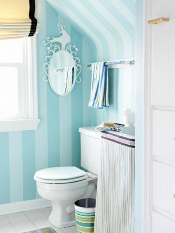 streifenvorschläge: gestreifte wände oder streifentapete in blau, Deko ideen