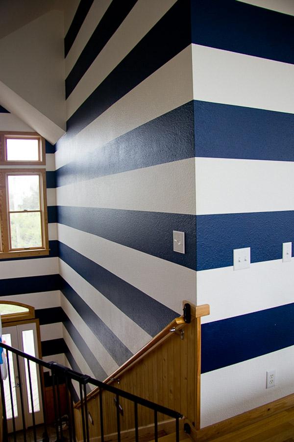 Streifenvorschläge: gestreifte Wände oder Streifentapete in Blau ...