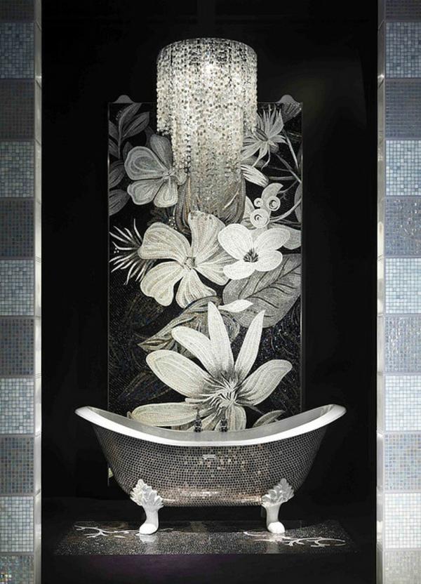 super-elegantes-bad-mit-mosaikfliesen - einmaliges design von badewanne