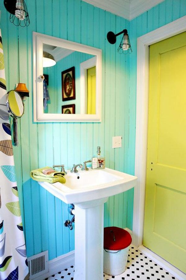 Tolles badezimmer in turquoise und gelb bunte motive