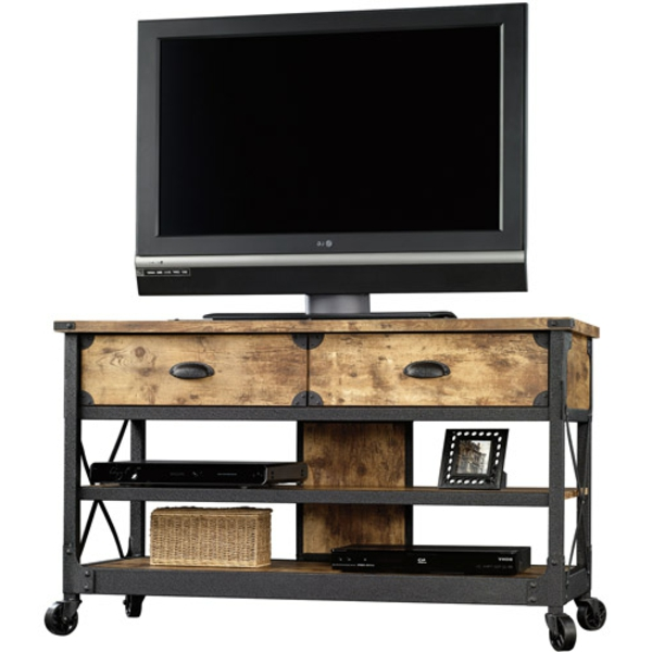 tv-tisch-auf-rollen-aus-holz-gemacht-weißer-hintergrund- moderne gestaltung