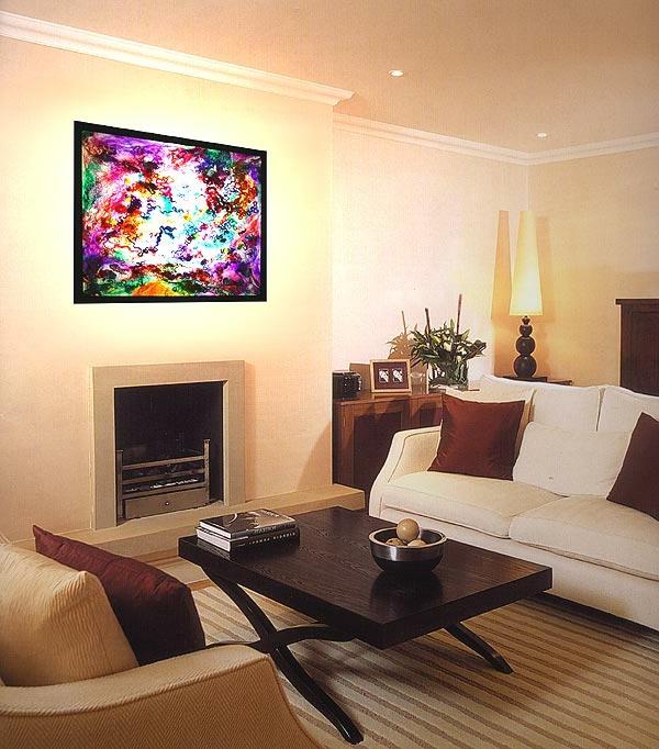 verblüffende-beleuchtungsideen-für-wohnzimmer-schönes bild an der wand