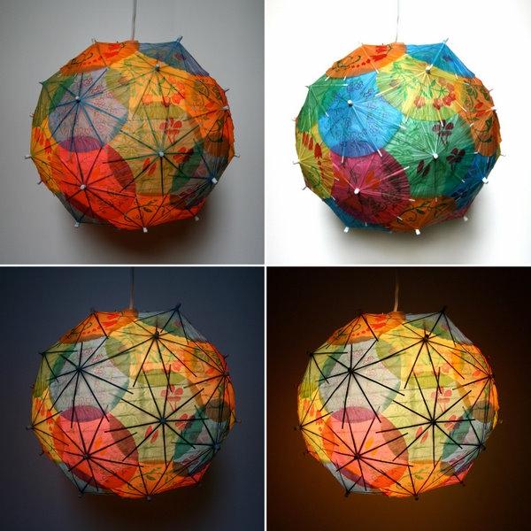 vier-bilder-von-modernen-papierleuchten- bunte kugeln aus papierregenschirmen gemacht