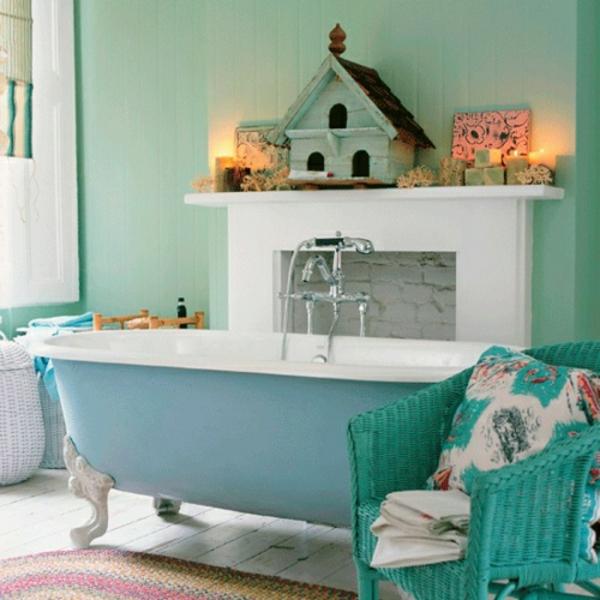 wandfarbe-mintgrün-Badgestaltung-blau-grün-vintage-Einrichtung