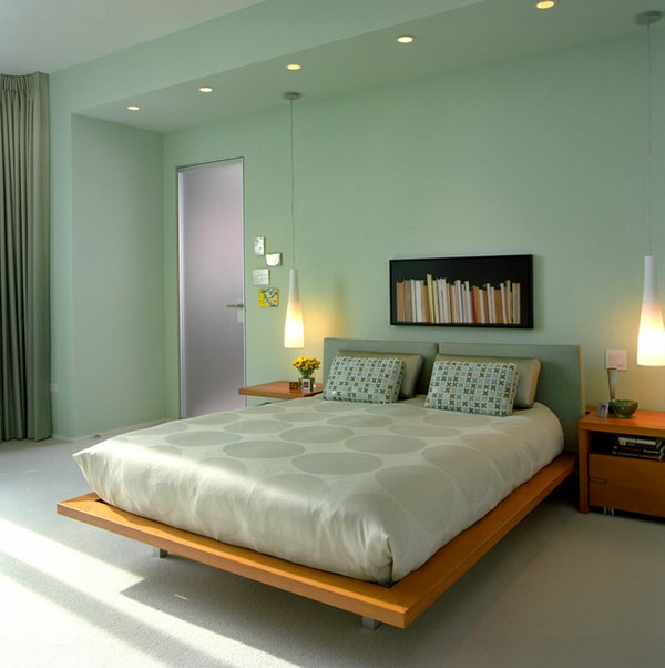 Wandfarbe Mintgrün Cozy Bedroom With Modern Platform Bed