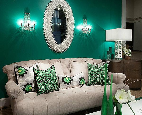 wandfarbe-mintgrün-Elegant-living-room-in-emerald-gree