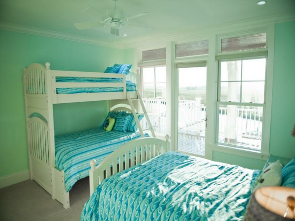 wandfarbe-mintgrün-Great-Mint-Green-Décor-with-Bunk-Bed