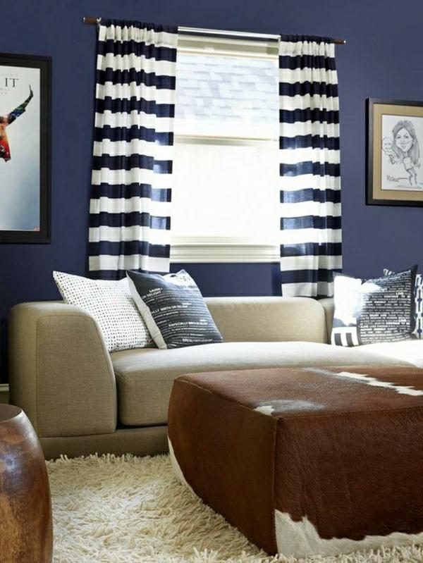 wandfarbe-taubenblau-dunkel-wohnzimmer