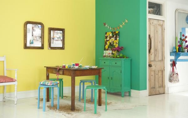 Wandfarben Kombination Gelb Grün Blau (2)