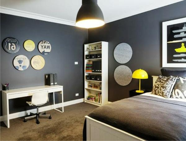 wandgestaltung-wohnzimmer-graue-farbe