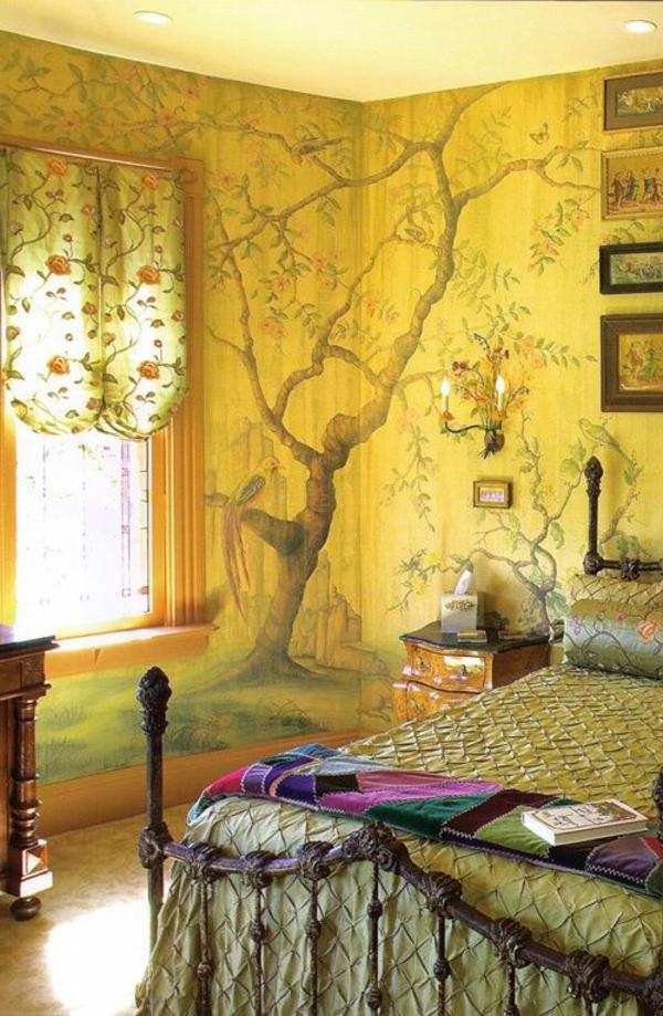 Wandmalerei Ideen Baum Gelb