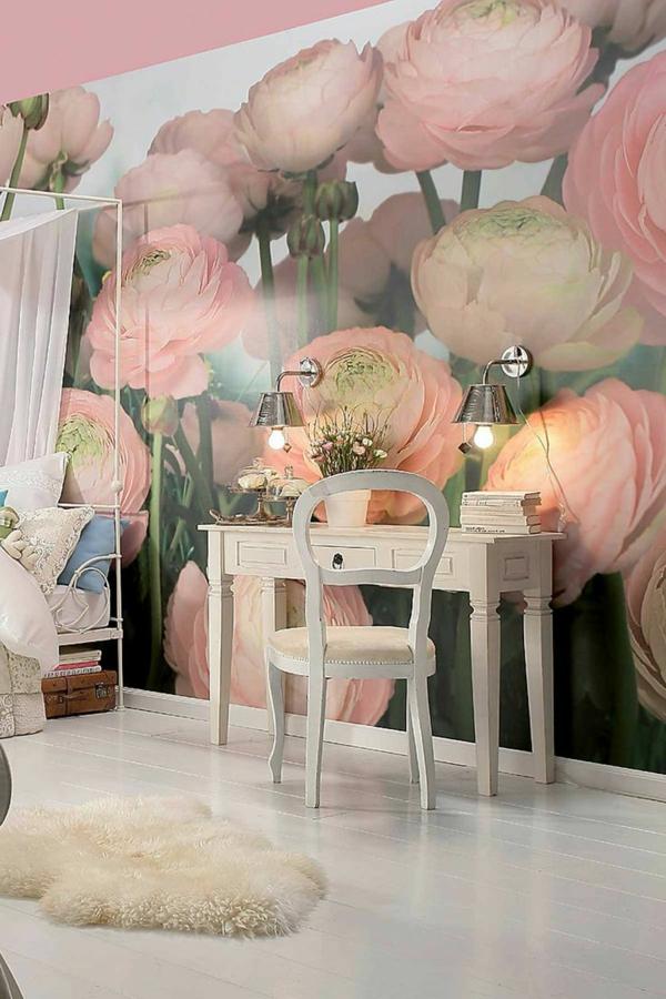 wandmalerei-ideen-rosa-blumen