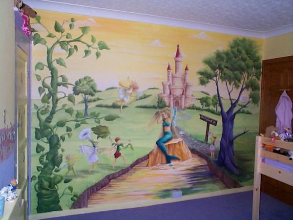 wandmalerei-im-kinderzimmer-schloss-mädchen