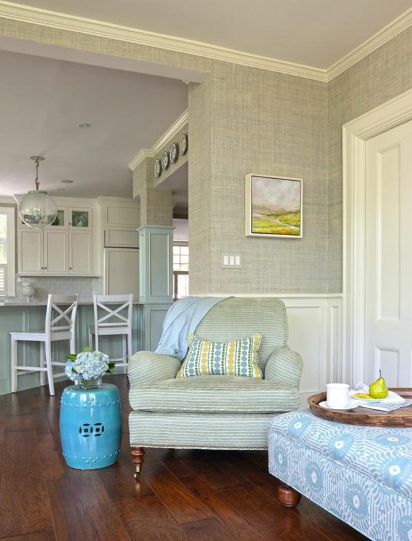 Wandtapete Helles Olivgrün Im Wohnzimmer Dunkler Holzboden