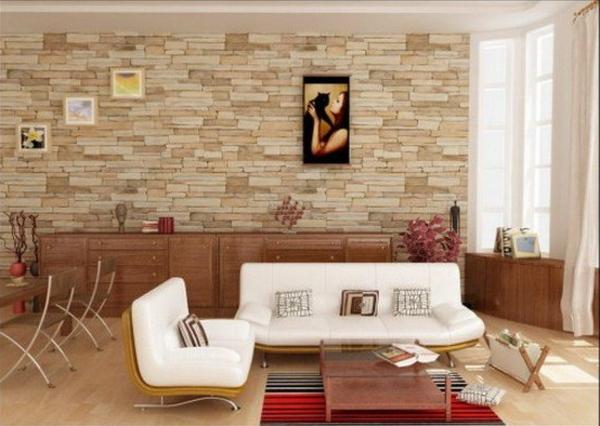 ziegelwand wohnzimmer:Wohnzimmertapete – neue Vorschläge für jeden Geschmack!