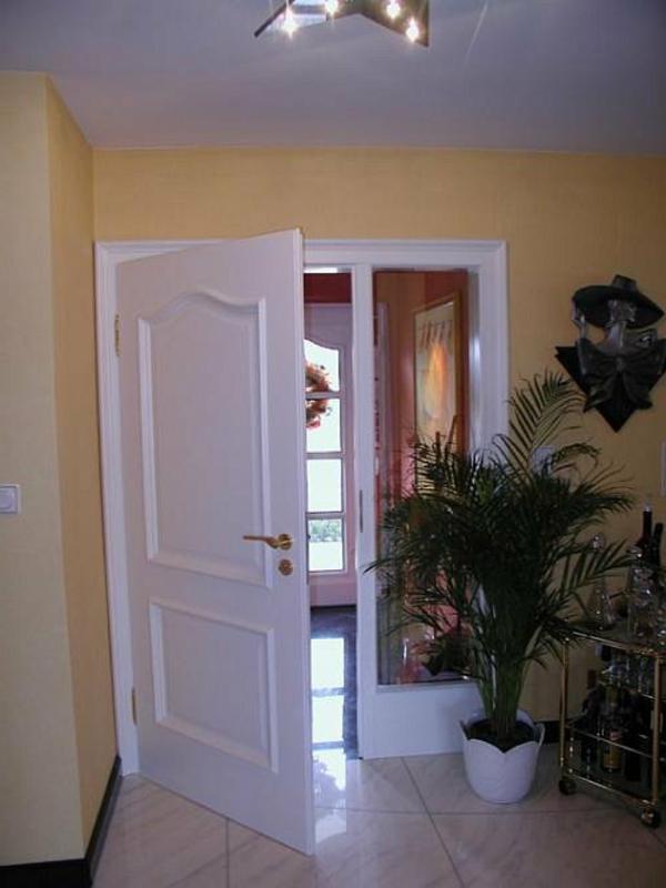 weiße-wunderschöne-hochwertige-innentüre- eine grüne pflanze als dekoration