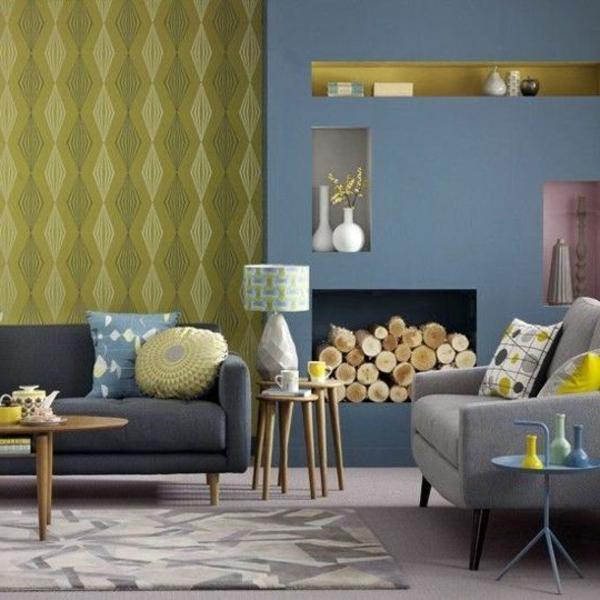 Wohnidee Wohnzimmertapeten In Olivgrün Und Blau