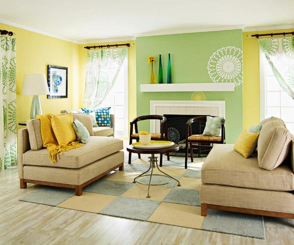 wohnzimmer-farbgestaltung-gelb-grün-kombination-teppich