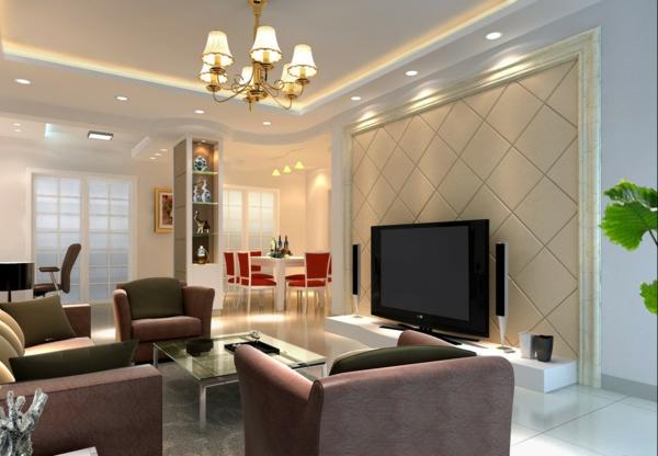Wohnzimmer Lampen Eine Akzentwand Gestalten