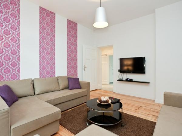 wohnzimmer rosa weiß:wohnzimmer-modern-rosa-und-weiß-braues-sofa