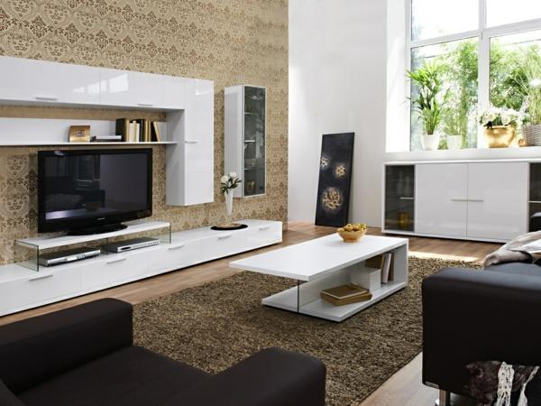 Hervorragend Wohnzimmer Stilmix Braune Tapete Mit Ornamenten Beige