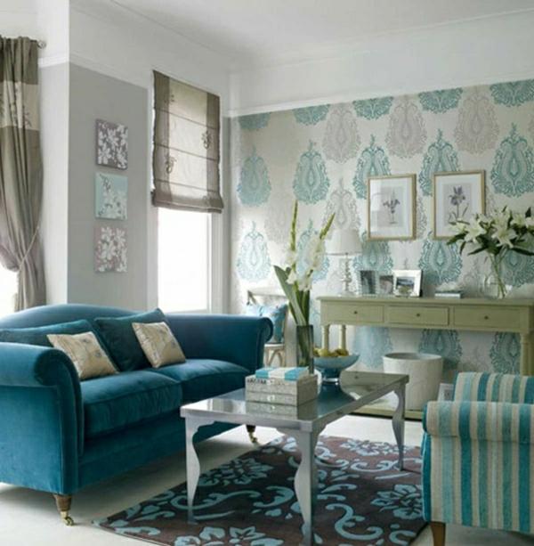 wohnzimmer-tapete-kühlende-farben-blau-weiß