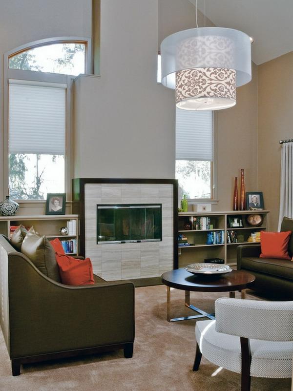 wunderschöne-beleuchtungsideen-für-wohnzimmer-ein kaminofen