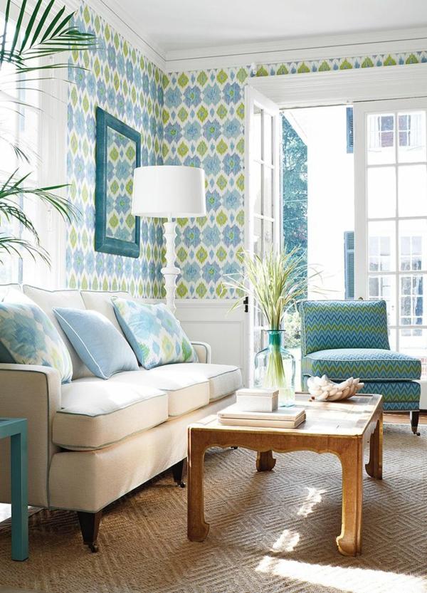 wundersch%C3%B6nes wohnzimmer mit tapeten blau und gr%C3%BCn - Tapete Hellgrun