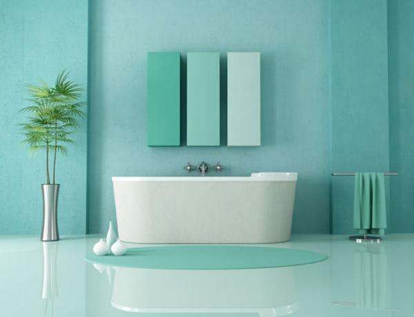 zauberhaftes-Türkis-im-badezimmer-grüne-pflanze