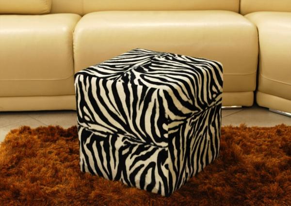 zebrafell-möbel-hocker