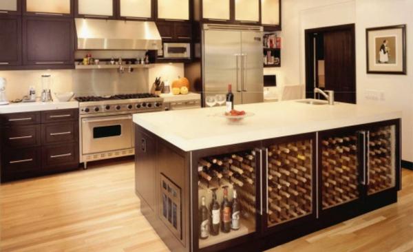 Zimmergestaltung -ideen-für-bessere-Weinablage-in der Küche-viel platz sparend und sehr inovativ