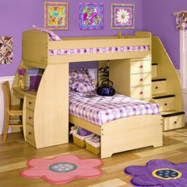 zimmergestaltung -ideen--für-praktisches-angenemes-Kinderzimmer-bunte-Wände-und- Hochbett