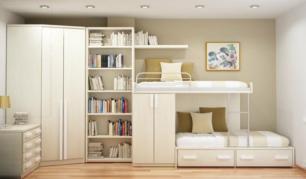 zimmergestaltung -ideen-weisses-Kinderzimmer mit dem Hochbett und weisse Bibliothek