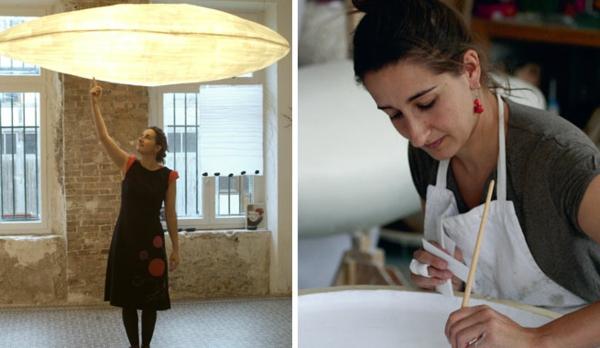 zwei-bilder-diy-lampe-aus-papier-eine frau macht die lampe