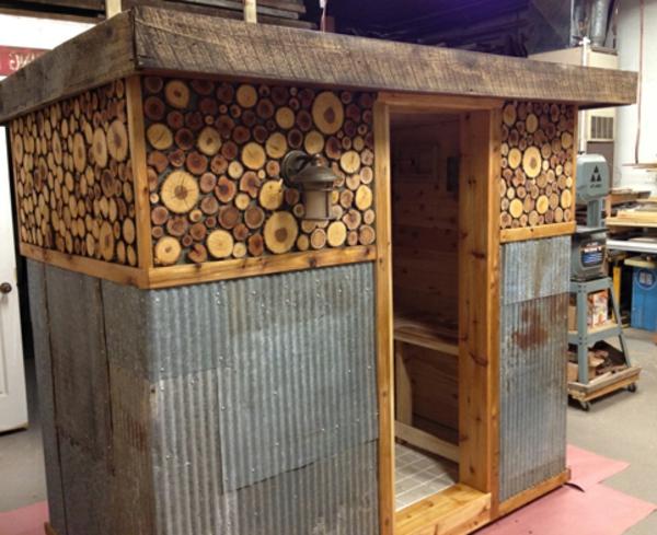 Garten-Sauna-Holz-Vorbereitung